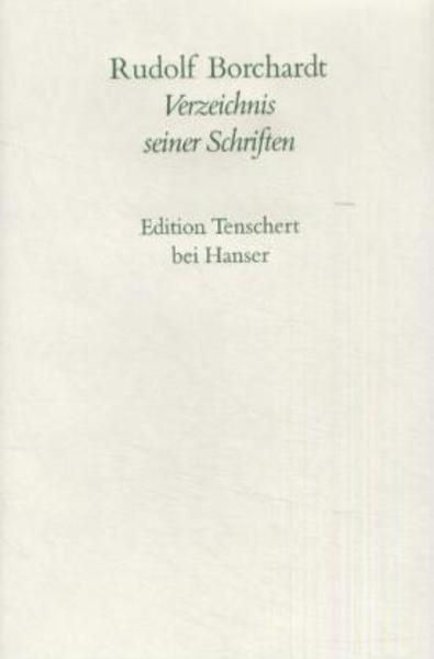 Verzeichnis aller Schriften - Coverbild