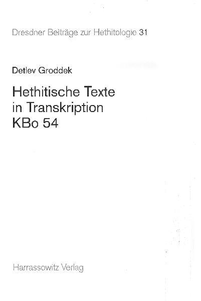Hethitische Texte in Transkription KBo 54 - Coverbild