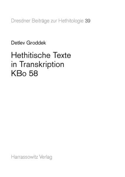 Hethitische Texte in Transkription KBo 58 - Coverbild