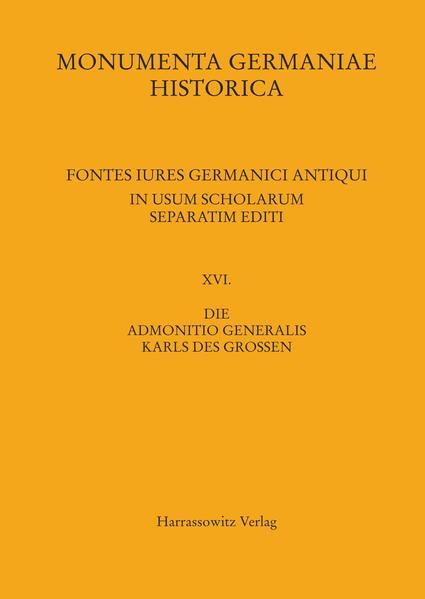 Die Admonitio generalis Karls des Großen - Coverbild