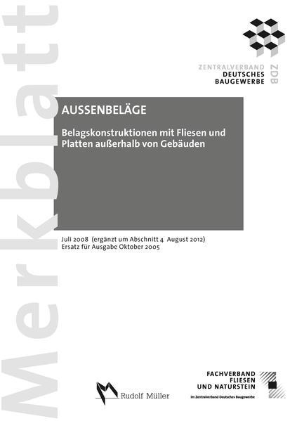 Merkblatt Belagskonstruktionen mit Fliesen und Platten ausserhalb von Gebäuden - Coverbild