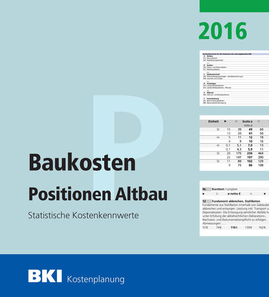 BKI Baukosten Positionen Altbau 2016 Teil 2 - Coverbild