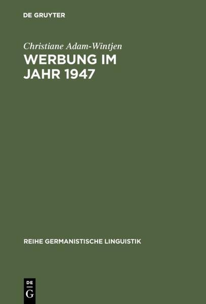 Werbung im Jahr 1947 - Coverbild