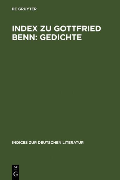 Index zu Gottfried Benn: Gedichte - Coverbild