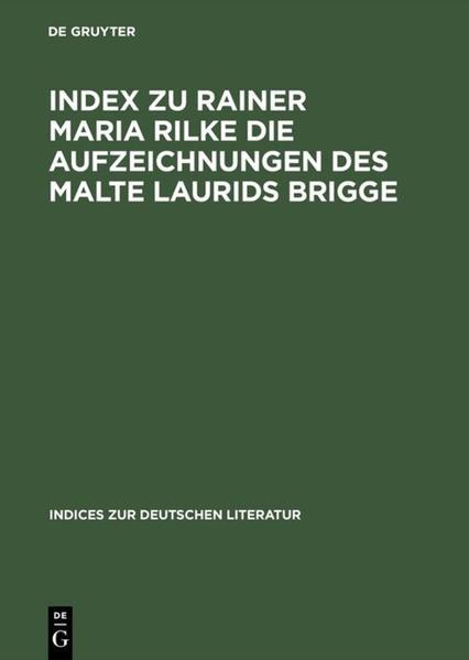 Index zu Rainer Maria Rilke Die Aufzeichnungen des Malte Laurids Brigge - Coverbild