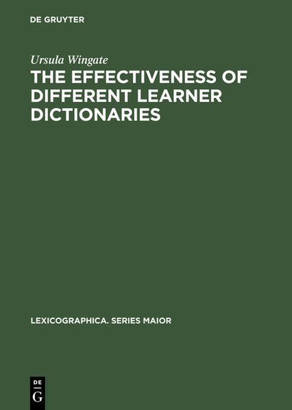 The Effectiveness of Different Learner Dictionaries - Coverbild