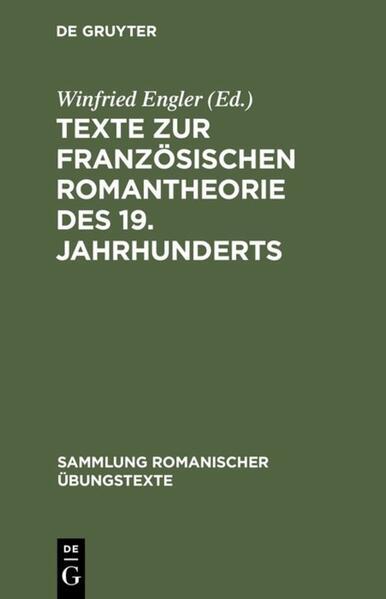 Texte zur französischen Romantheorie des 19. Jahrhunderts - Coverbild