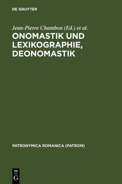 Onomastik und Lexikographie, Deonomastik - Coverbild