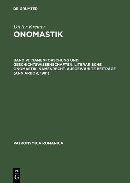 Namenforschung und Geschichtswissenschaften. Literarische Onomastik, Namenrecht, Anhang - Coverbild