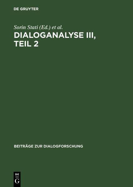 Dialoganalyse III : Referate der 3. Arbeitstagung, Bologna 1990 - Coverbild