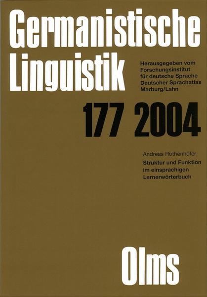 Germanistische Linguistik / Struktur und Funktion im einsprachigen Lernerwörterbuch - Coverbild
