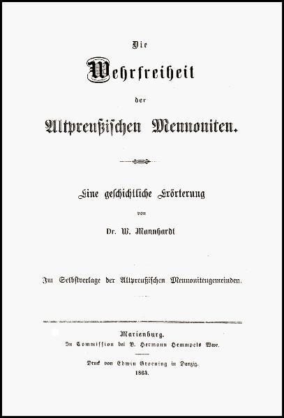 Die Wehrfreiheit der altpreußischen Mennoniten - Coverbild