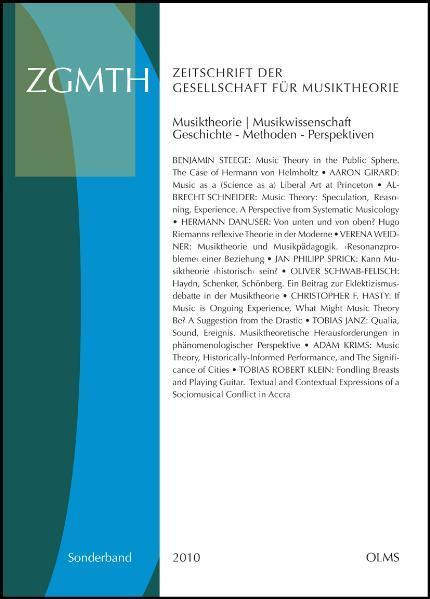 ZGMTH - Zeitschrift der Gesellschaft für Musiktheorie - Sonderausgabe 2010. - Coverbild