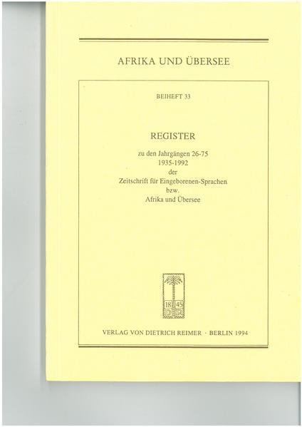 Zeitschrift für Eingeborenen-Sprachen bzw.