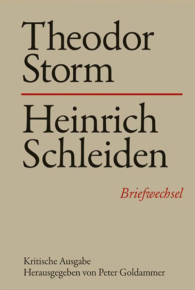Theodor Storm - Heinrich Schleiden - Coverbild