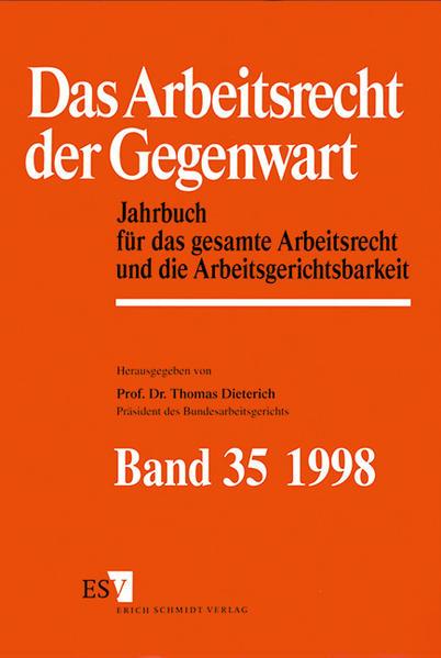 Jahrbuch des Arbeitsrechts / Das Arbeitsrecht der Gegenwart Band 35 - Dokumentation für das Jahr 1997 - Coverbild
