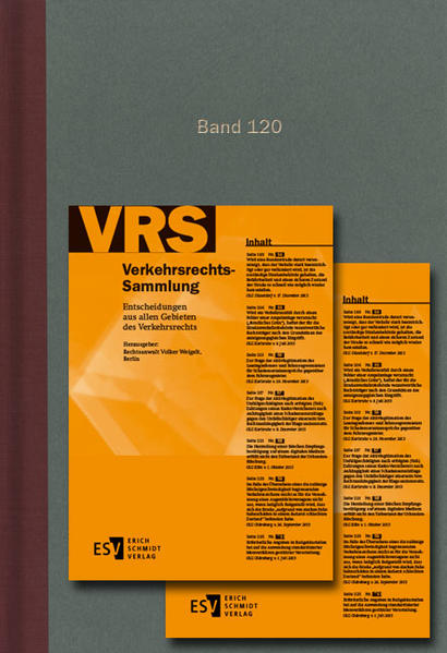 Verkehrsrechts-Sammlung (VRS) / Verkehrsrechts-Sammlung (VRS) Band 120 - Coverbild