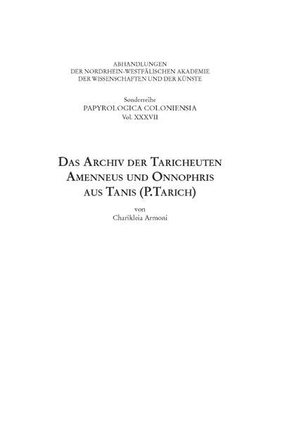 Das Archiv der Taricheuten Amenneus und Onnophris aus Tanis (P.Tarich) - Coverbild
