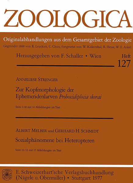 Zur Kopfmorphologie der Ephemeridenlarven Proboscidiplocia skorai. - Melber, Albert, / Schmidt, Gerhard H.: Sozialphänomene bei Heteropteren - Coverbild