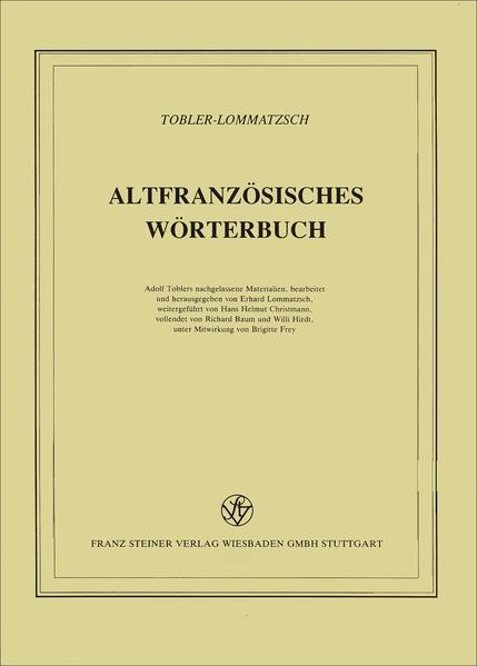 Altfranzösisches Wörterbuch. Band 12. Lieferung 93 - Coverbild