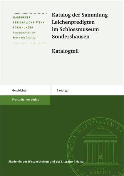 Katalog der Sammlung Leichenpredigten im Schlossmuseum Sondershausen - Coverbild