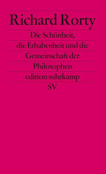 Die Schönheit, die Erhabenheit und die Gemeinschaft der Philosophen - Coverbild