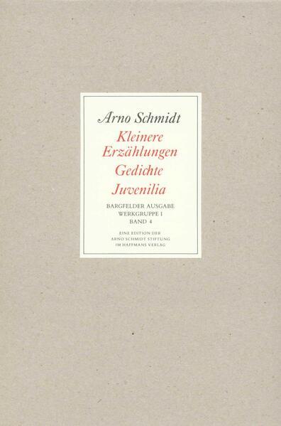 Bargfelder Ausgabe. Werkgruppe I. Romane, Erzählungen, Gedichte, Juvenilia - Coverbild