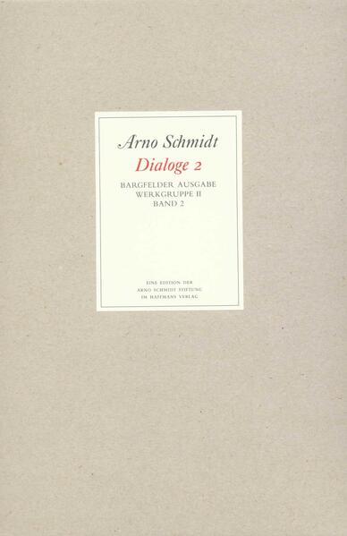 Bargfelder Ausgabe. Werkgruppe II. Dialoge - Coverbild