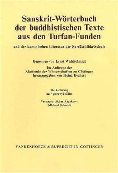 Sanskrit-Wörterbuch der buddhistischen Texte aus den Turfan-Funden. Lieferung 16 - Coverbild