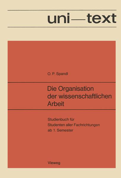 Die Organisation der wissenschaftlichen Arbeit - Coverbild