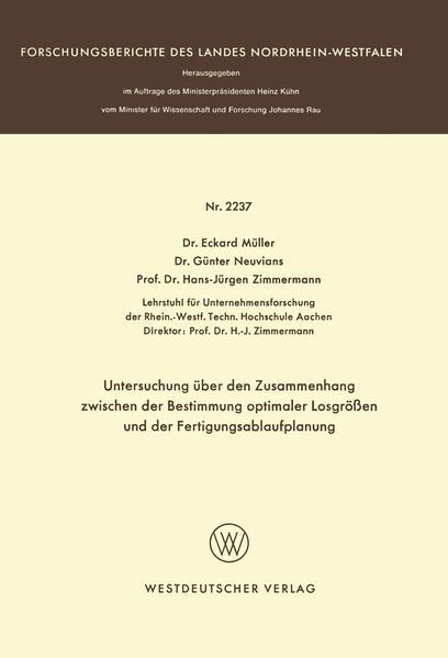 Untersuchung über den Zusammenhang zwischen der Bestimmung optimaler Losgrößen und der Fertigungsablaufplanung - Coverbild