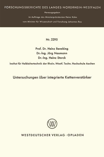 Untersuchungen über integrierte Kettenverstärker - Coverbild