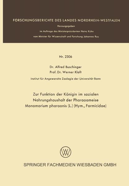 Zur Funktion der Königin im sozialen Nahrungshaushalt der Pharaoameise Monomorium pharaonis (L.) (Hym., Formicidae) - Coverbild