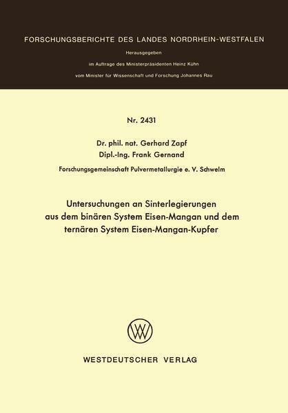 Untersuchungen an Sinterlegierungen aus dem binären System Eisen-Mangan und dem ternären System Eisen-Mangan-Kupfer - Coverbild