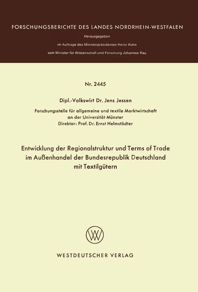 Entwicklung der Regionalstruktur und Terms of Trade im Außenhandel der Bundesrepublik Deutschland mit Textilgütern - Coverbild
