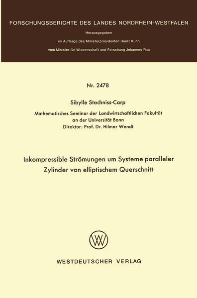 Inkompressible Strömungen um Systeme paralleler Zylinder von elliptischem Querschnitt - Coverbild