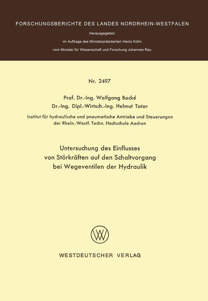 Untersuchung des Einflusses von Störkräften auf den Schaltvorgang bei Wegeventilen der Hydraulik - Coverbild