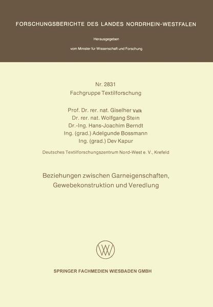 Beziehungen zwischen Garneigenschaften, Gewebekonstruktion und Veredlung - Coverbild