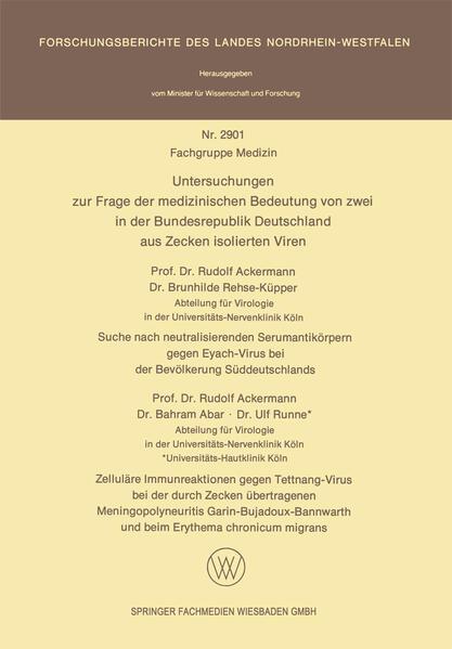 Untersuchungen zur Frage der medizinischen Bedeutung von zwei in der Bundesrepublik Deutschland aus Zecken isolierten Viren - Coverbild