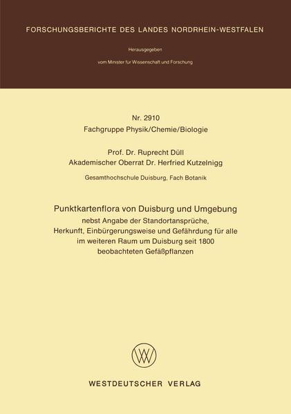 Punktkartenflora von Duisburg und Umgebung - Coverbild