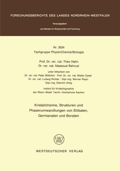 Kristallchemie, Strukturen und Phasenumwandlungen von Silikaten, Germanaten und Boraten - Coverbild