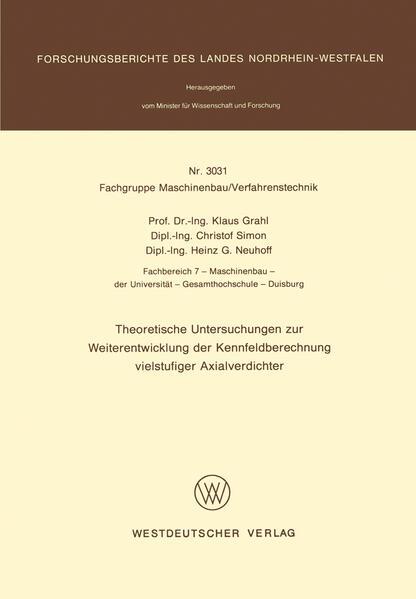 Theoretische Untersuchungen zur Weiterentwicklung der Kennfeldberechnung vielstufiger Axialverdichter - Coverbild