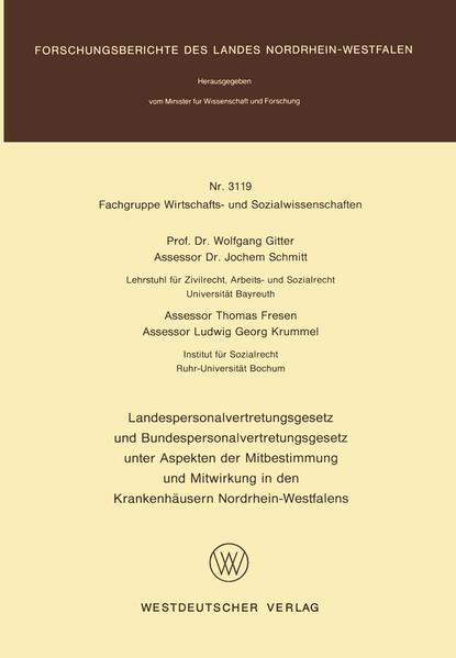 Landespersonalvertretungsgesetz und Bundespersonalvertretungsgesetz unter Aspekten der Mitbestimmung und Mitwirkung in den Krankenhäusern Nordrhein-Westfalens - Coverbild