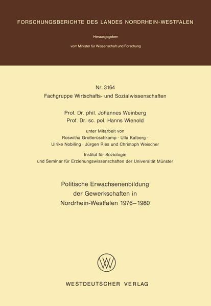 Politische Erwachsenenbildung der Gewerkschaften in Nordrhein-Westfalen 1976 – 1980 - Coverbild