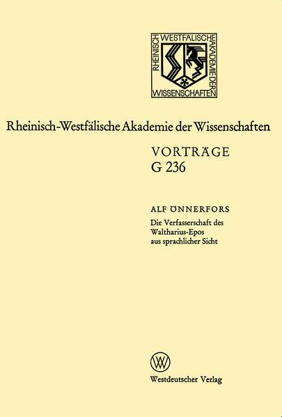 Die Verfasserschaft des Waltharius-Epos aus sprachlicher Sicht - Coverbild
