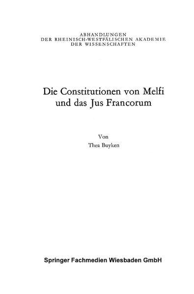 Die Constitutionen von Melfi und das Jus Francorum - Coverbild