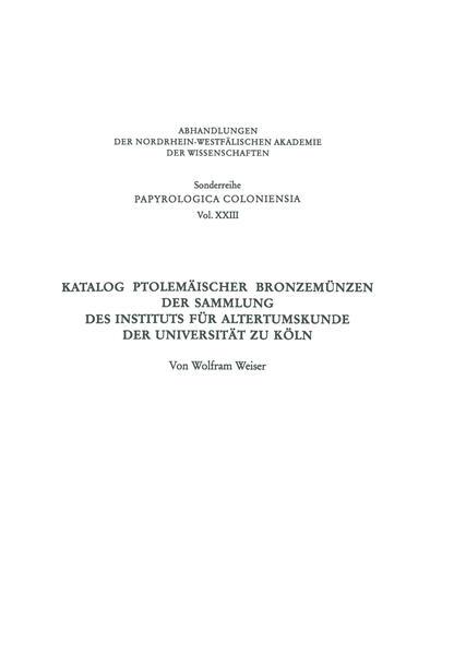 Katalog Ptolemäischer Bronzemünzen der Sammlung des Instituts für Altertumskunde der Universität zu Köln - Coverbild