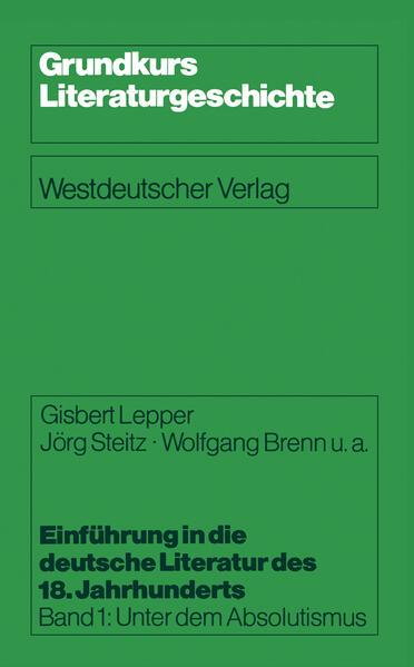 Einführung in die deutsche Literatur des 18. Jahrhunderts - Coverbild