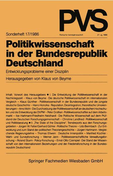 Politikwissenschaft in der Bundesrepublik Deutschland - Coverbild