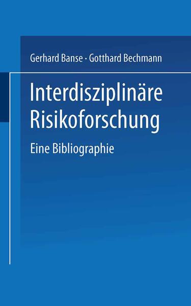 Interdisziplinäre Risikoforschung - Coverbild